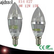LED Candelabra Bulb  candle light E14 E27 9W 12W 15W Warm /Nature/ Cool White Bulb Lamp Dimmable 110V220V Led bulb lamp CE ROHS цена 2017