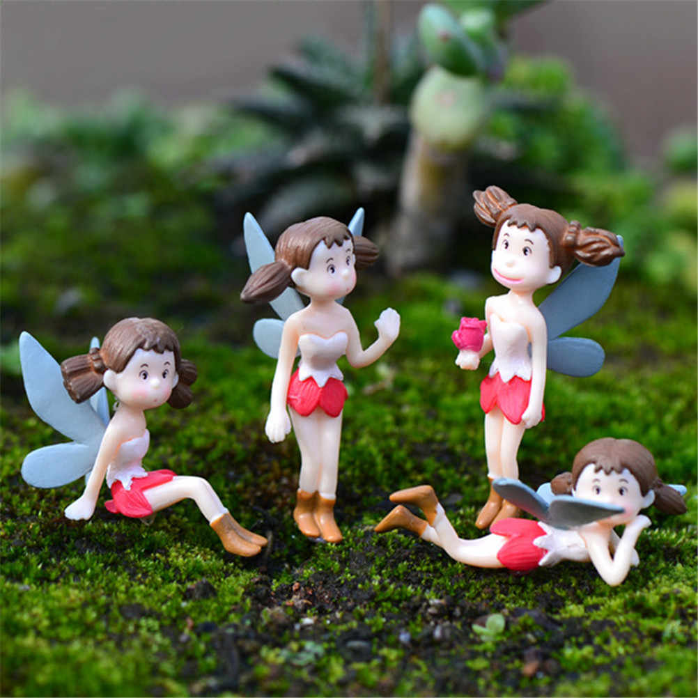 Hot 4Pcs/Set Fairy Garden Figurines Miniature Hayao Miyazaki Angel Girls Resin Crafts Ornament Gnomes Moss Terrariums Decoration
