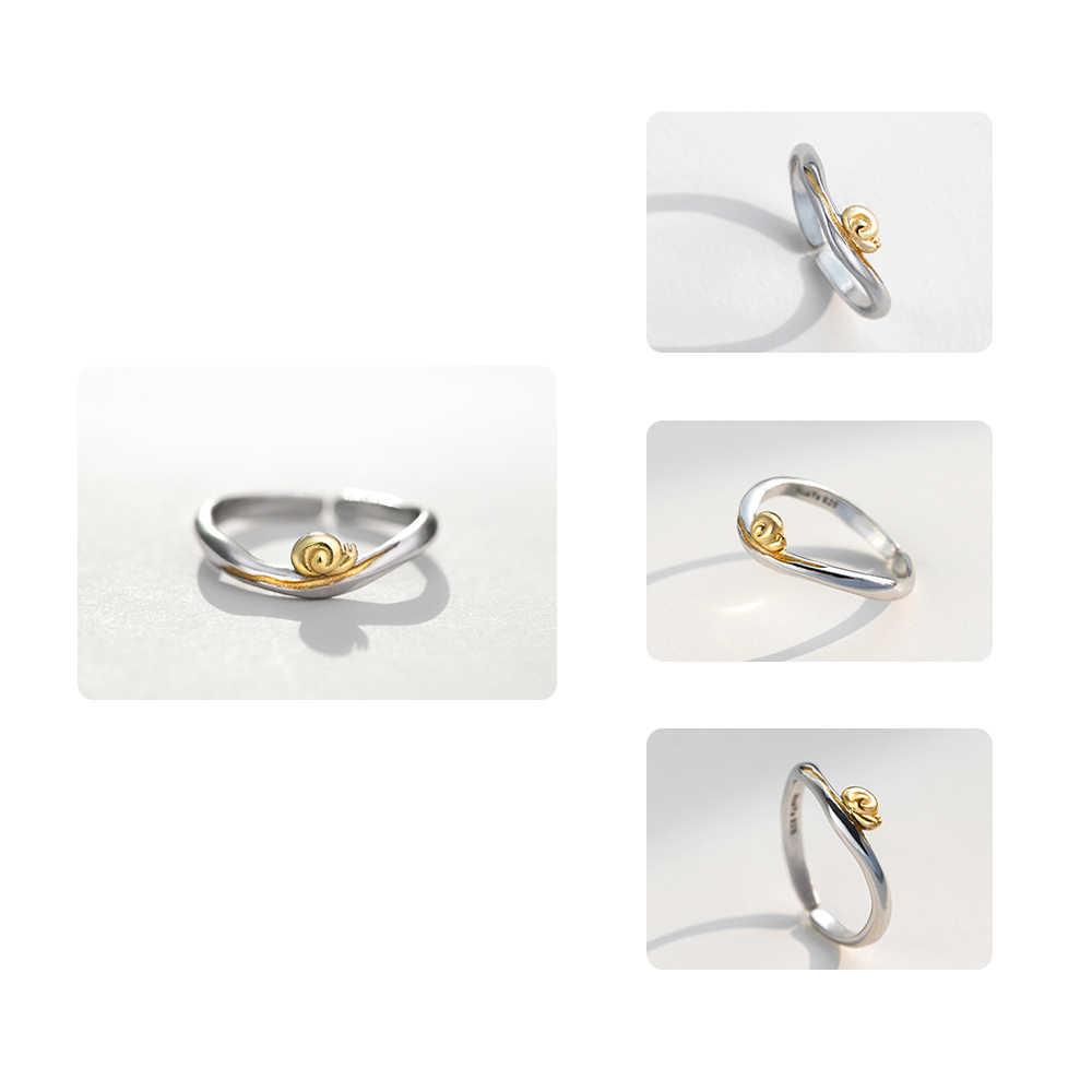 Thaya Gold หอยทาก S925 แหวนเงิน Journey Design Handmade Elegant Wave แหวนสำหรับของขวัญผู้หญิงหญิงธรรมชาติเครื่องประดับ Fine