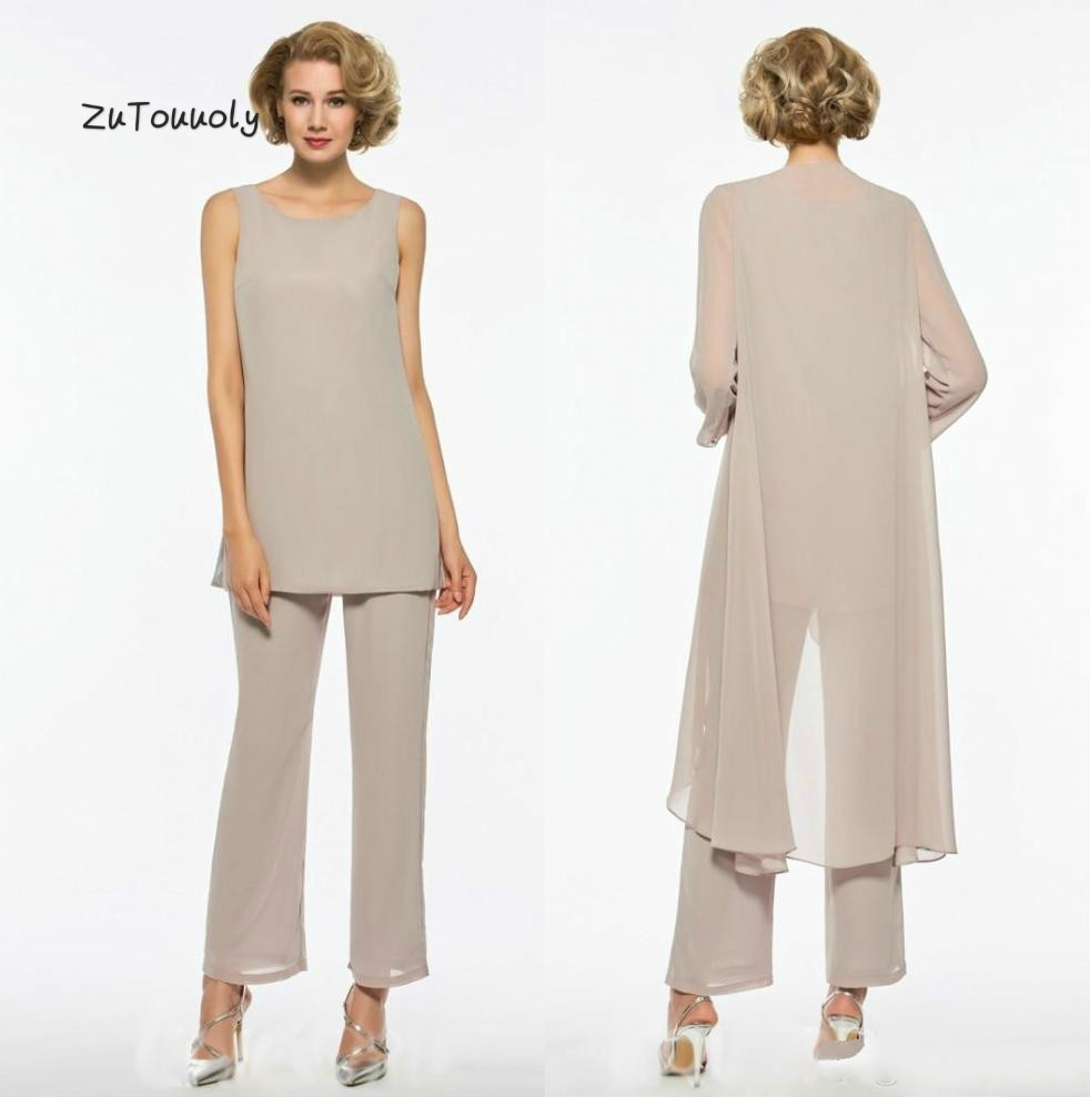 New Zealand Mother Of The Bride Dresses Modern Chiffon Three Pieces Outdoor Summer Beach Mom Pant Suits For Women Bride's Mother