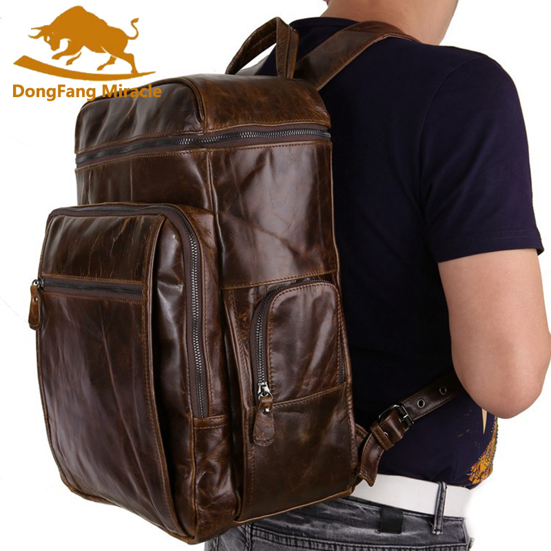 Brand Cowhide Genuine Leather Backpack Men Oil Wax Travel Backpack Real Leather School Bag Weekend Overnight Bag baijiawei fashion design men oil wax leather backpack men s school backpack