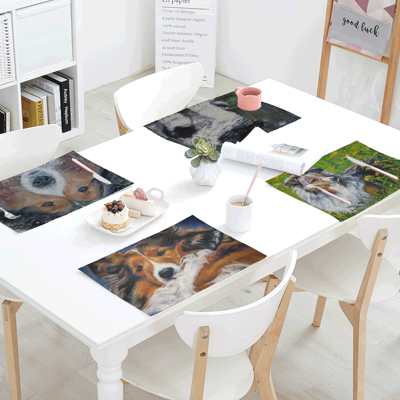 Wholesale Tablecloth 42x32cm Cute Dog Bull Terrier Cup Tea Coffee Pad Restaurant Kitchen Decor Western Table Runner Table Flag