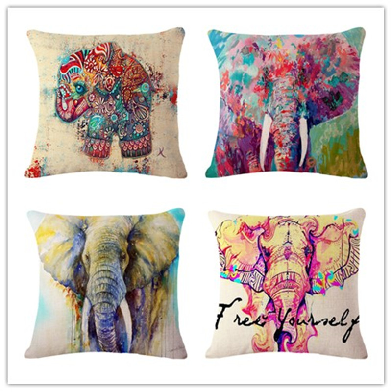 European Style Elephant Printed Modern Minimalist Linen Cotton Cushion For Sofa Home Decorative Pillow Throw Almofadas Cojines