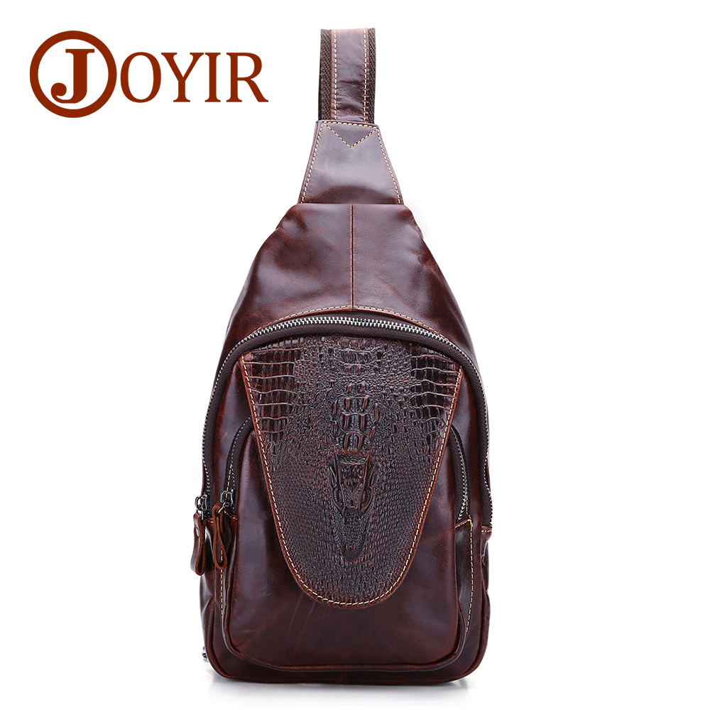 JOYIR Genuine Leather Men Bags Alligator Pattern Man Chest Pack Bag Vintage Men Messenger Bags Crossbody Shoulder Bag 3215 new 2016 genuine leather crocodile alligator pattern men vintage messenger bag waist pack men s bags chest pack waist bag 3864