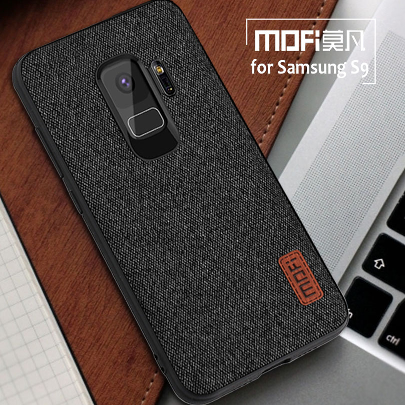for Samsung Galaxy S9 S8 Plus Case Mofi Fabric Splice Back Cover Case Silicone Phone Case for