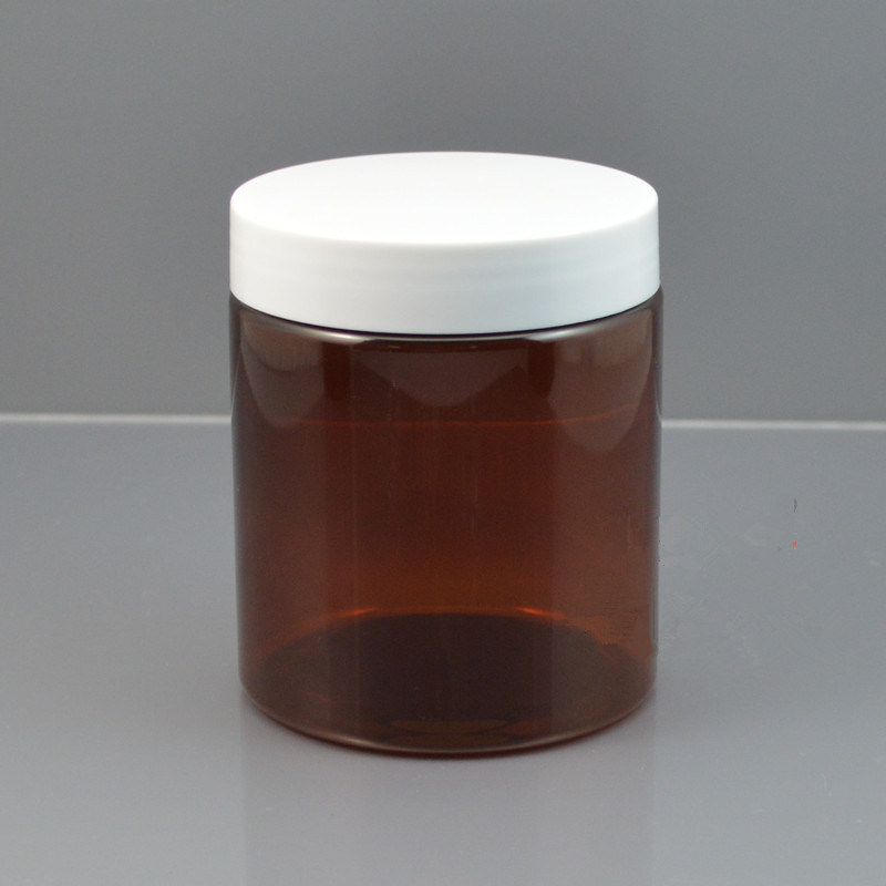 Empty, 250g Amber Plastic Cream Container Jar, Lightproof Wide Mouth Jars Cosmetic Container Facial Mask Cream Refillable Jar