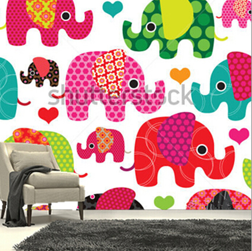 The custom 3D murals,lovely cartoon elephant kids pattern wallpaper ...