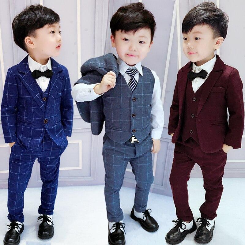 2018 Spring Fall Boys Plaid Suit 3 Pcs Set Children's Casual Jacket + Waistcoat + Pants 2-10 Yrs Kids British Formal Suits X265