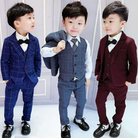 2018 Spring Fall Boys Plaid Suit 3 Pcs Set Children's Casual Jacket + Waistcoat + Pants 2 10 Yrs Kids British Formal Suits X265