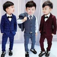 2018 Spring Fall Boys Plaid Suit 3 Pcs Set Children's Casual Jacket + Waistcoat + Pants 2 10 Yrs Kids British Formal Suits X265