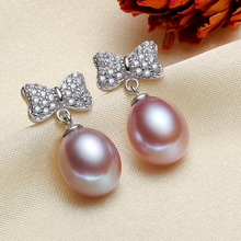925 silver real natural big [bright pearl] natural freshwater pearl earrings, earrings, drip shaped, 925 silver, simple fashion