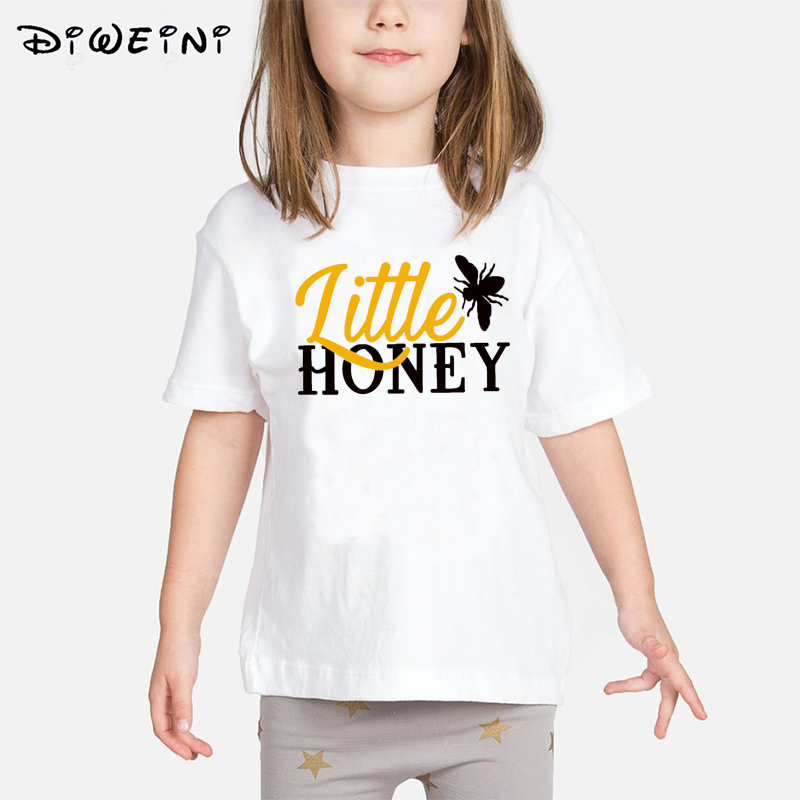Baby Girls T shirt Kids Letter Print Clothes 2019 Summer New T shirts Children White O Neck Camisetas 2 to 8 Years Toddler Tops in Tees from Mother Kids