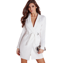 Office Lady Fashion Women Dress Long Sleeve Slim Brief  Solid White Dress Tunic Polo Collar with Belt Bodycon Mini Dress