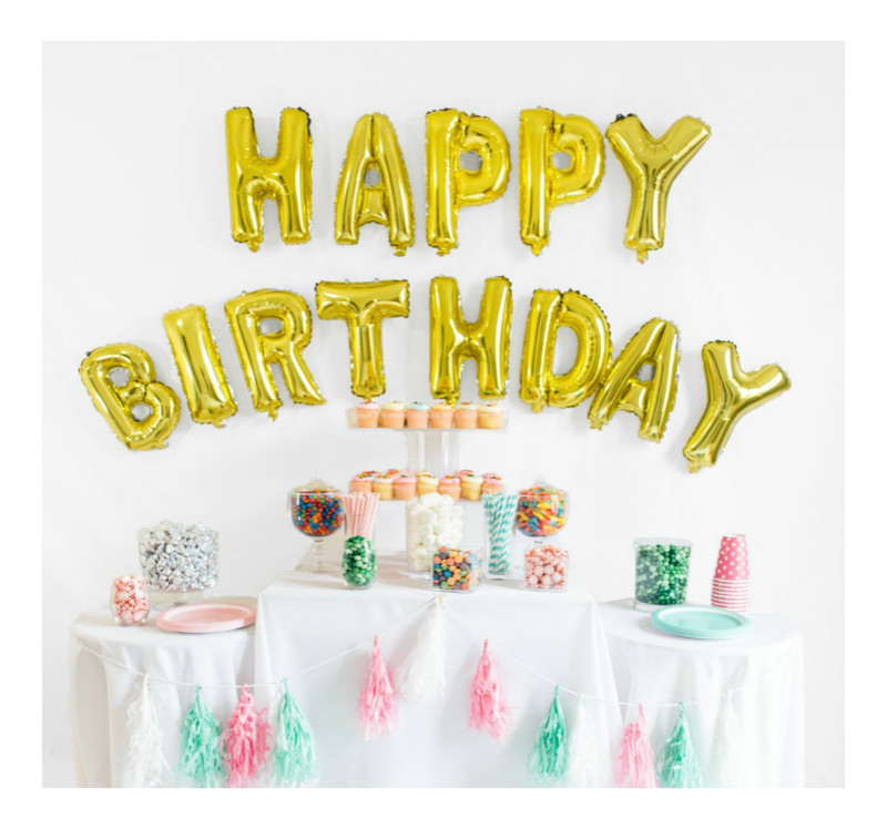 f249181030fe Image Gold Foil HAPPY BIRTHDAY Balloons Banner 16 inch COMBO 13pcs lot  Letter Happy Birthday Foil