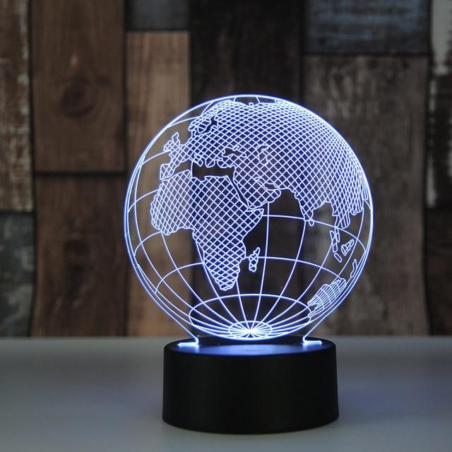 Erde Plexiglas FÜHRTE 3D Nachtlicht 3D Lampe Luminaria USB Tisch LED ...