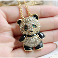 Women Vintage Crystal Rhinestone Fashion Panda Bear Necklace Pendant Chain ND247