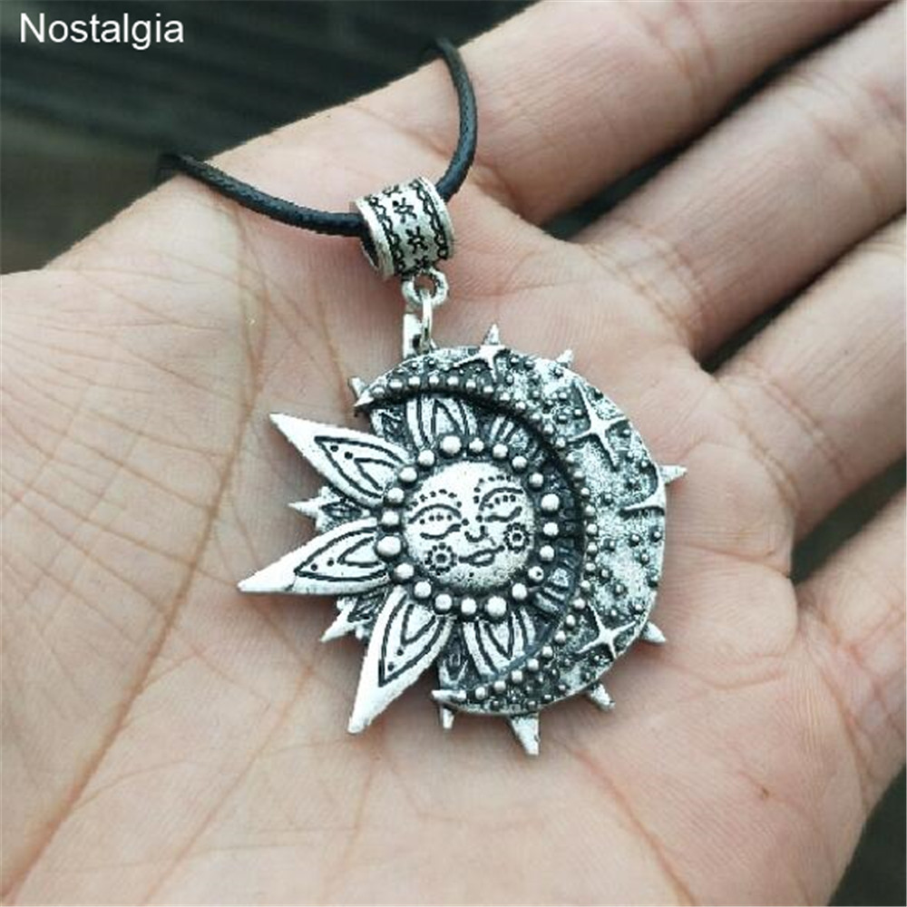 Wiccan Sun Moon Star Male Necklace Women Mandala Lotus Flower Wicca Witchcraft Witch Jewelry Neckless Spiritual Jewelery(China)