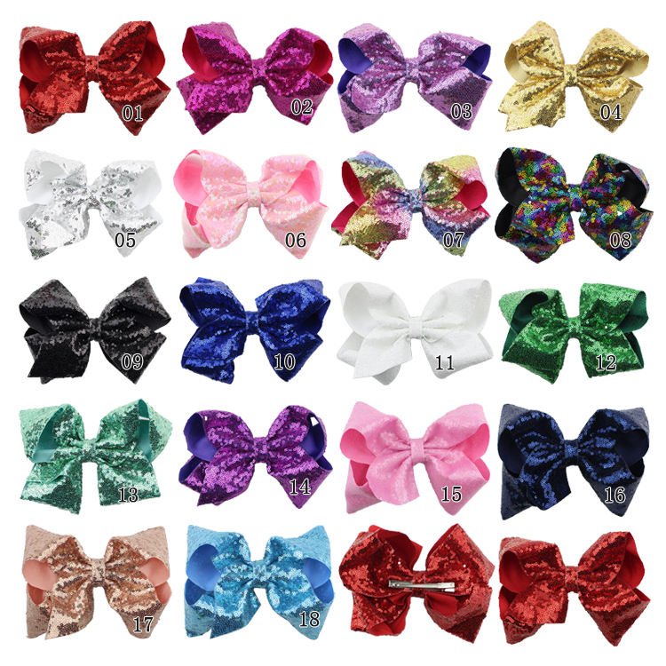 8 inch Jumbo Sequin Rainbow Bow Hair Clip For Girls Kids Boutique Knot Girl Hairbow Glitter Hairgrips Baby Hair Accessories (5)