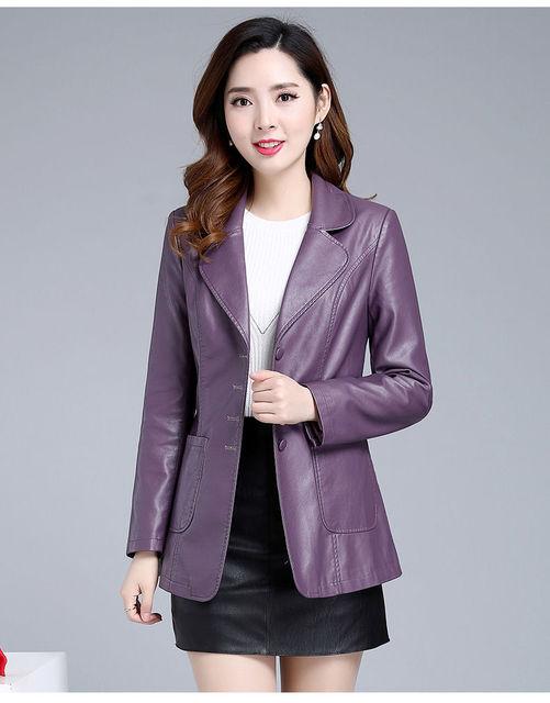 Size M-5XL Plus Size Clothing 2020 Spring Autumn Women Jackets Coat New Women's Long Leather Jacket Coat Lady Clothes