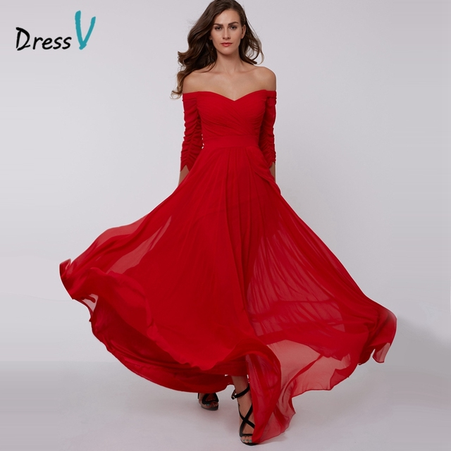 d1cf2a88e51eb US $39.0 50% OFF|DressV red A line long evening dress cheap off the  shoulder zipper up 3/4 length sleeves pleats ruched chiffon evening  dress-in ...