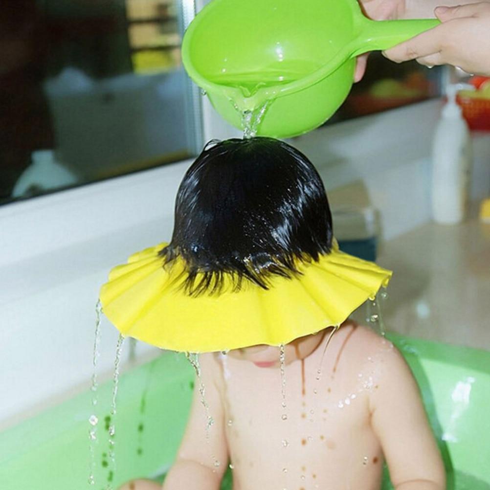 7fd146f1542 Children Waterproof Cap Safe Baby Shower Cap Kids Bath Visor Hat Adjustable  Baby Shower Cap Protect