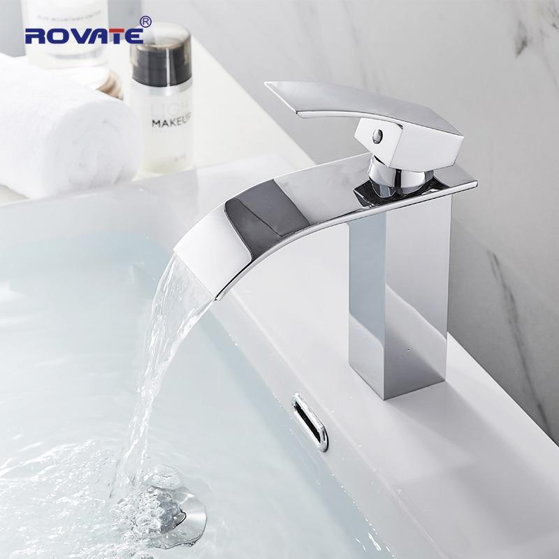 Waterfall Chrome Bathroom Basin Faucet Single Handle Sink Vessel Mixer Tap
