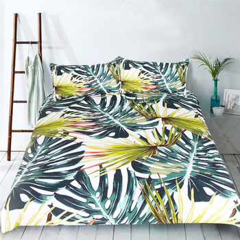Fashion new 3D vivid green leaves plant print Bedding set duvet cover twin full Queen King bed sheet 3pcs soft pillowcase adult