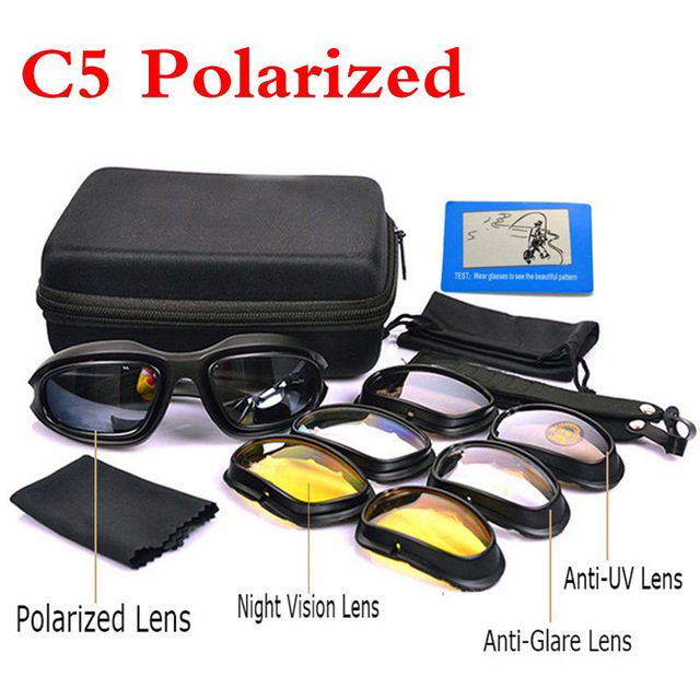 C5 Polarized Tactical Military Glasses Hunting Airsoft Shooting Goggles Cycling Hiking Windproof Glasses 4 Lens