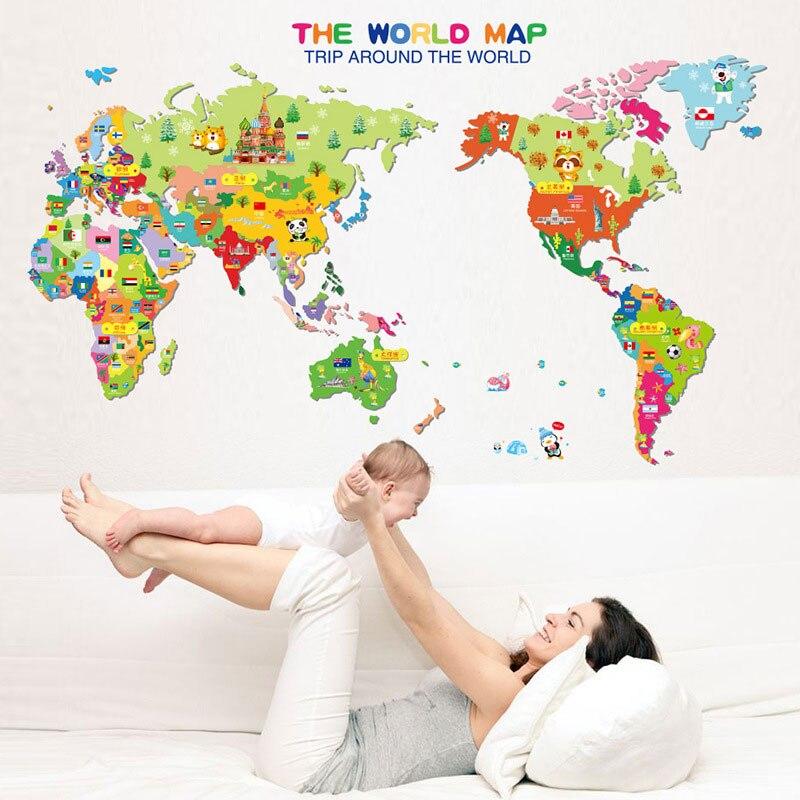 59 * 99 cm Animal World Map etiqueta de la pared calcomanía de - Decoración del hogar
