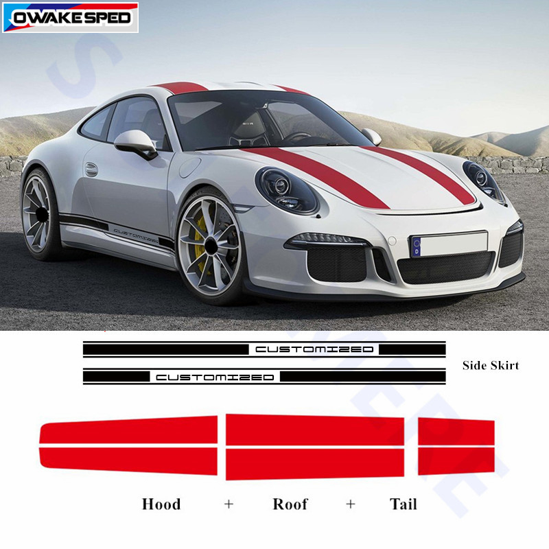 Door Side Skirt Stripes Car Hood Tail Roof Decor Sticker Auto Body Accessories Decal For Porsche 911 997 Racing Styling