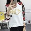 Девочек-подростков футболка осень-весна топ модель 2016 с длинным рукавом мило