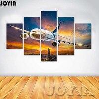 5 Unidades Aviones Avión de Arte de la Lona Pintura de Pared Decoración Para el Hogar Moderno Noche Aeropuerto Pinturas Para Paredes de la Sala Decoración No Frame