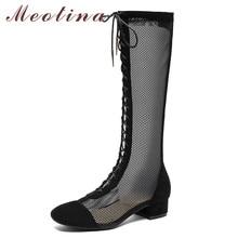 Meotina Autumn Knee High Boots Women Cow Suede Zipper Block Heel Long Boots Mesh Lace Up Tall Shoes Female Spring Big Size 34-43 стоимость