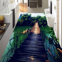 Free Shipping Custom Wooden Bridge Bamboo Sky Water White Clouds Landscape 3D Stereo Mall Floor Self