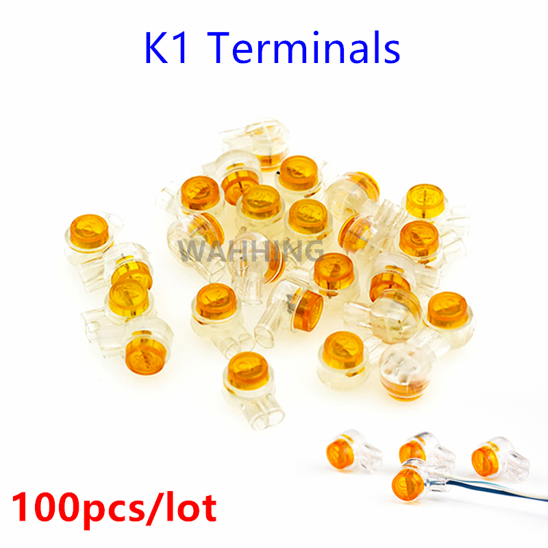 100pcs K1 Terminal Cable Connection Wire Terminals Quick-Fit Splicing K1 Connector Terminal Block For Telephone Light HY683*100 50pcs k3 wire connector rj45 connector crimp connection terminal quick fit splicing waterproof wiring ethernet telephone cable