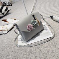 DIZHIGE Brand Designer PU Leather Women Bags High Quility Crossbody Bags For Women Fashion Flower Chain