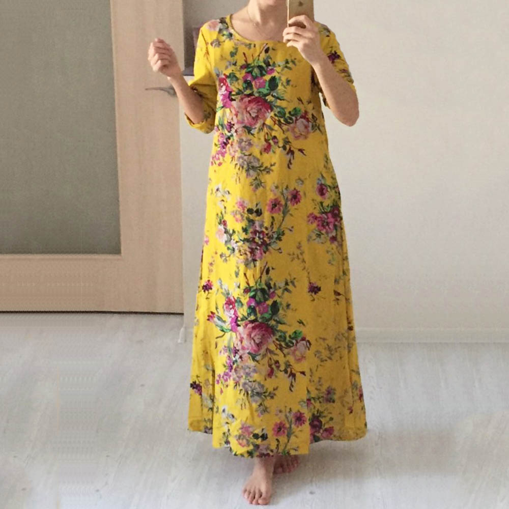5XL Plus Size Women Flower Maxi Dress Loose Cotton Linen O Neck Pockets Long Summer Dresses Vintage Robe Bohemian Dress