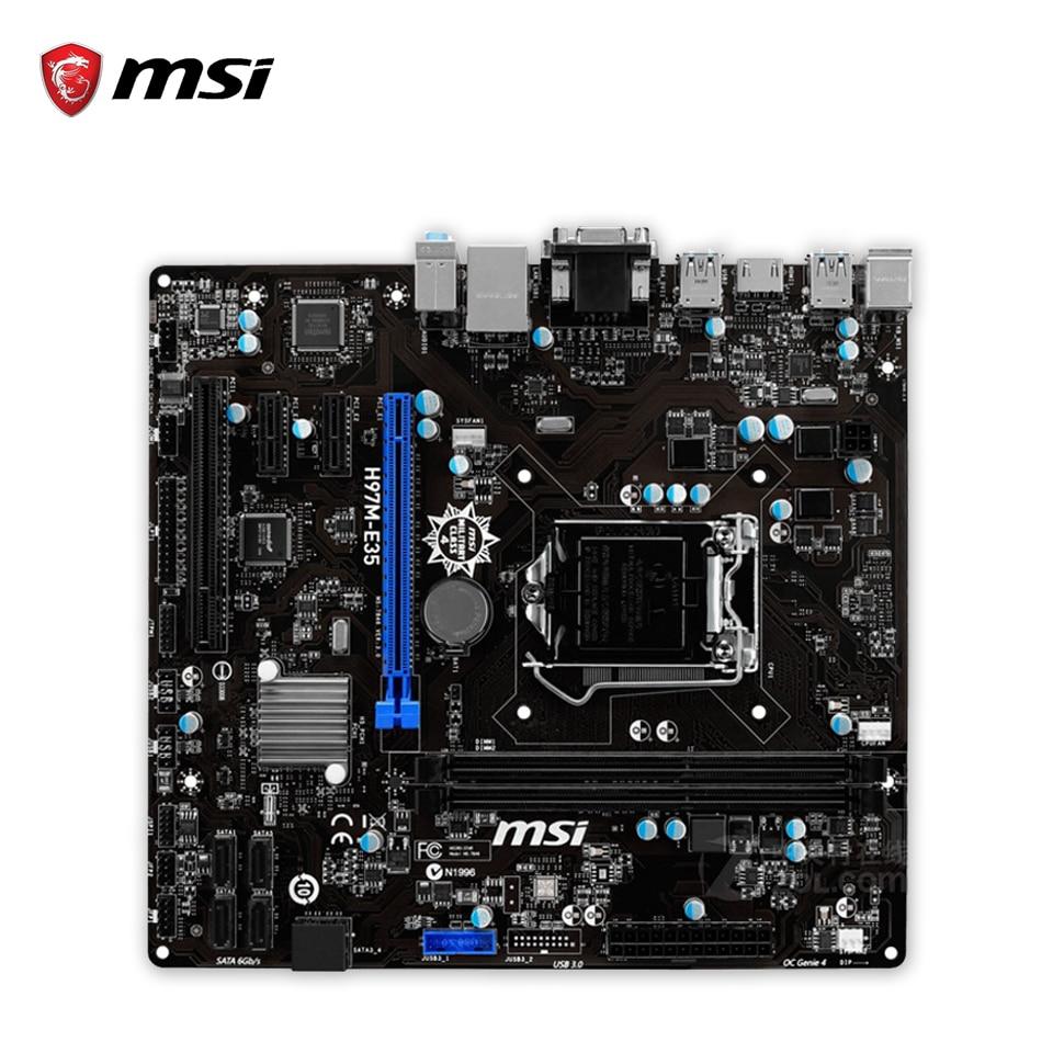 msi z87 g43 gaming original used desktop motherboard z87 socket lga 1150 i3 i5 i7 ddr3 32g sata3 usb3 0 atx MSI H97M-E35 Original Used Desktop Motherboard H97 Socket LGA 1150 i3 i5 i7 DDR3 16G SATA3 USB3.0 Micro-ATX