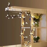 2.5M 72Leds Milky Ball Firecracker LED String Light Rattan Branch Globe Ball Fairy Lamp For New Year Christmas Home Decoration D