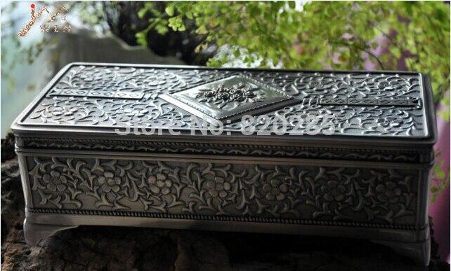 Livraison gratuite étain/argent plaqué grande taille boîte à bijoux, boîte à bibelots en métal, cercueil en alliage de zinc