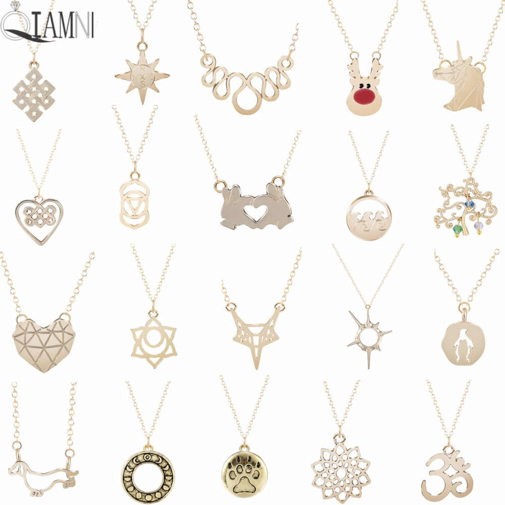 QIAMNI Trendy Women's Unicorn Fox Penguin Dog Reindeer Animal Necklace Compass Heart Flower Necklace Birthday Gift Jewelry