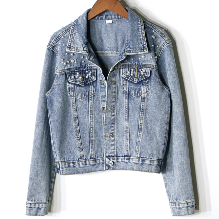 plus size 5XL! Spring Autumn Women   Basic     Jacket   Short Denim   Jacket   Pearls Beading Jeans Coat Loose Long Sleeve   Jackets