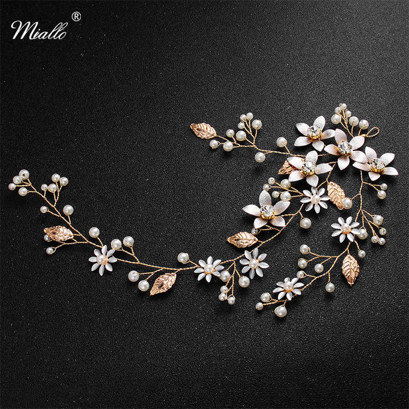 Miallo Newest Fashion Handmade Blossom Headpiece Wedding Pearls Headbands Bridal Jewelry Hair Accessories for Women Hairstyle