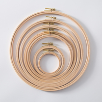 8PCS Embroidery Circle Hoops Set Cross Hoop Ring Wooden Round Adjustable Bamboo Hoops Craft Handy Sewing kit Tool Wood Frame