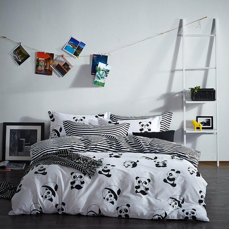 Nueva Serie B & W Panda Rayas Textiles Para El Hogar ropa de Cama 100% Algodón d