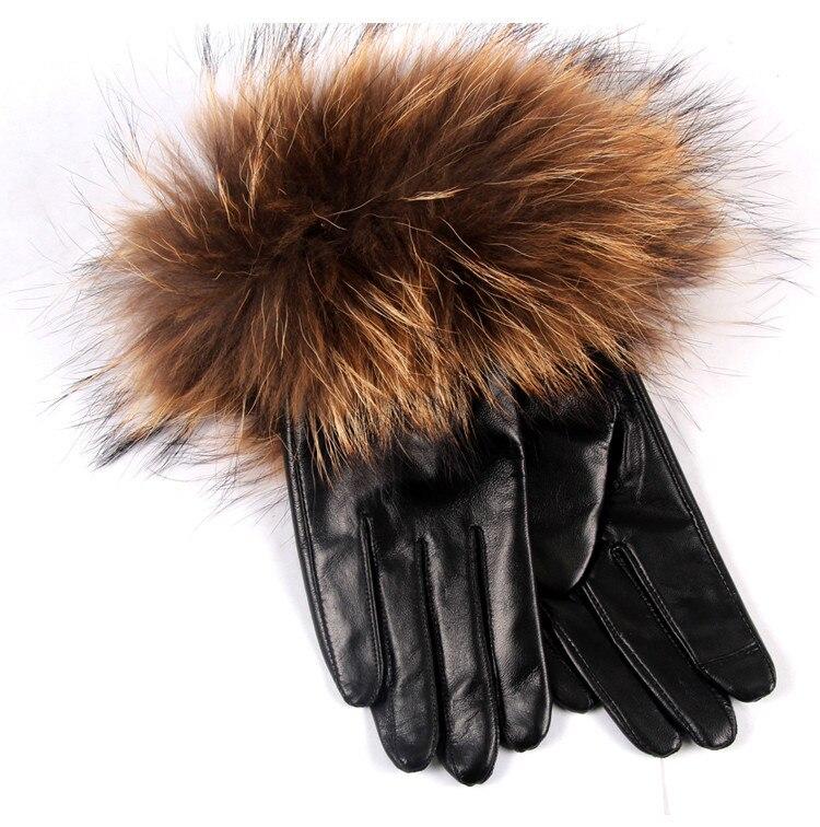 MK 05 nouvelle mode Super fourrure de renard fourrure de raton laveur gants dame hiver velours épaississement chaud toucher gant gants d'hiver femmes