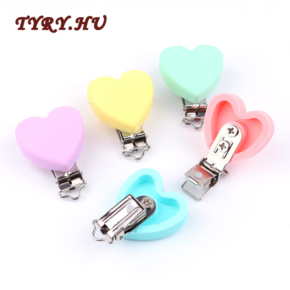 TYRY.HU Heart-shaped Silicone Chewable Baby Pacifier Clips Metal Clips Soother Clips For DIY Pacifier Chain Clips Accessories