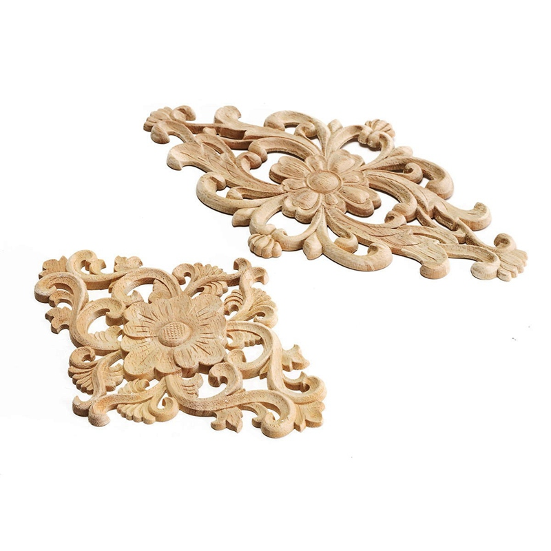 Modern flower pattern wood carved unpainted wood oak for Applique furniture decoration
