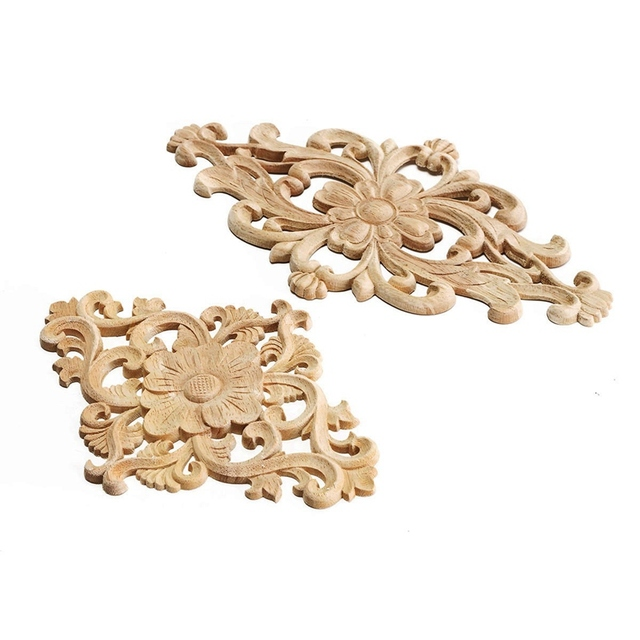 Modern Flower Pattern Wood Carved Unpainted Oak Round Onlay Lique Plaques Furniture Home Decoration