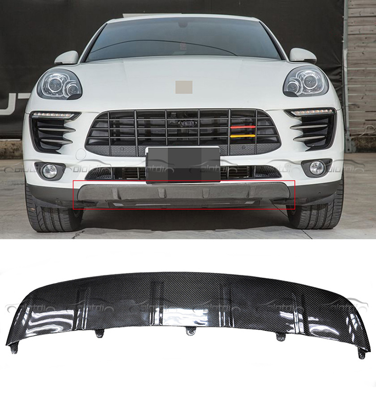 For Porsche Macan Car Styling OEM Style Carbon Fiber Front Bumper Bottom Diffuser Lip 2013 +up
